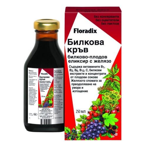 Floradix Билкова Кръв - Билково-плодов еликсир с желязо, 250ml